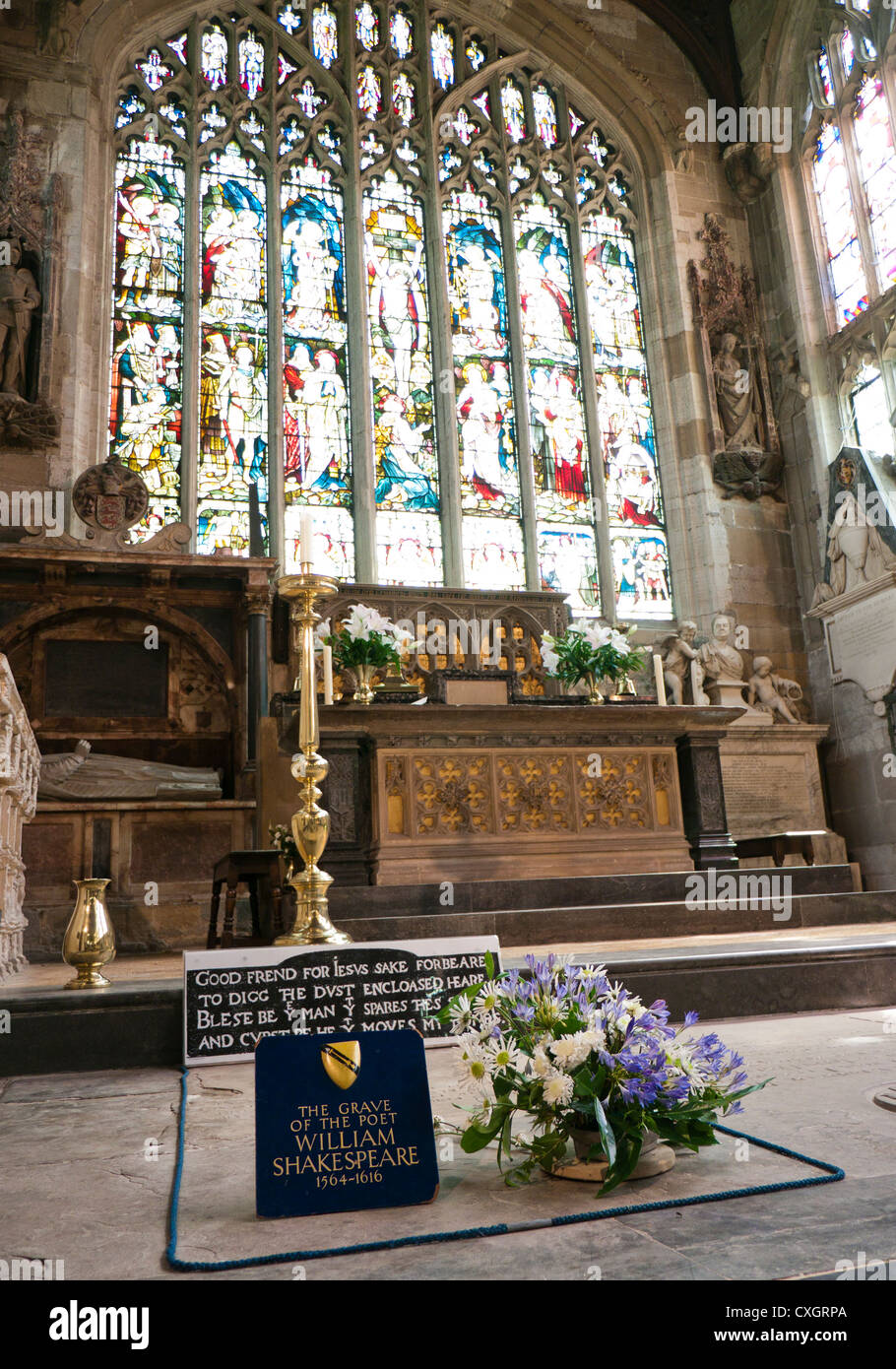 The grave of William Shakespeare inside Holy Trinity Church in  Stratford upon Avon in England - Stock Image