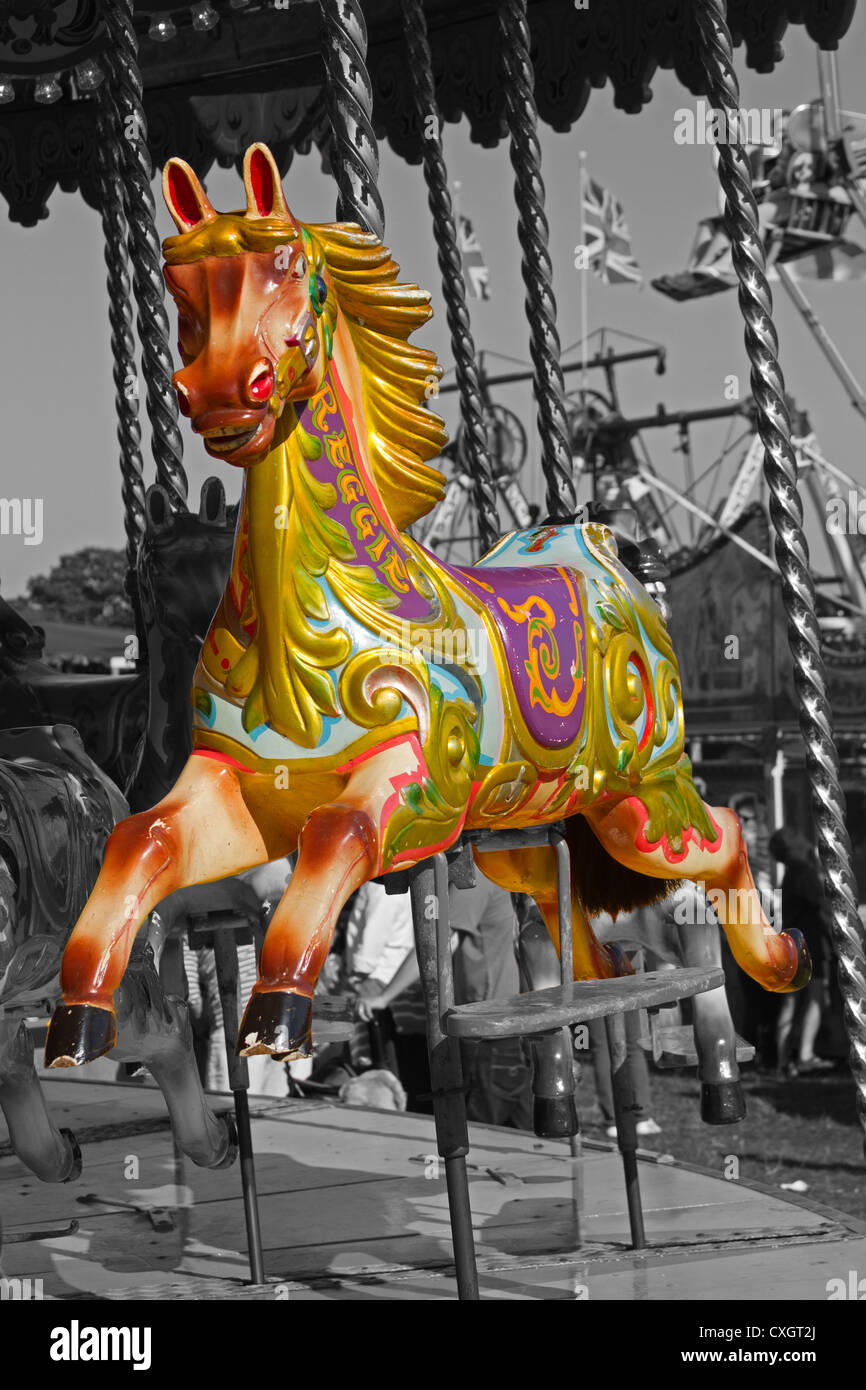 Carousel Horse On Black And White A Fairground Carousel Horse On A Stock Photo Alamy