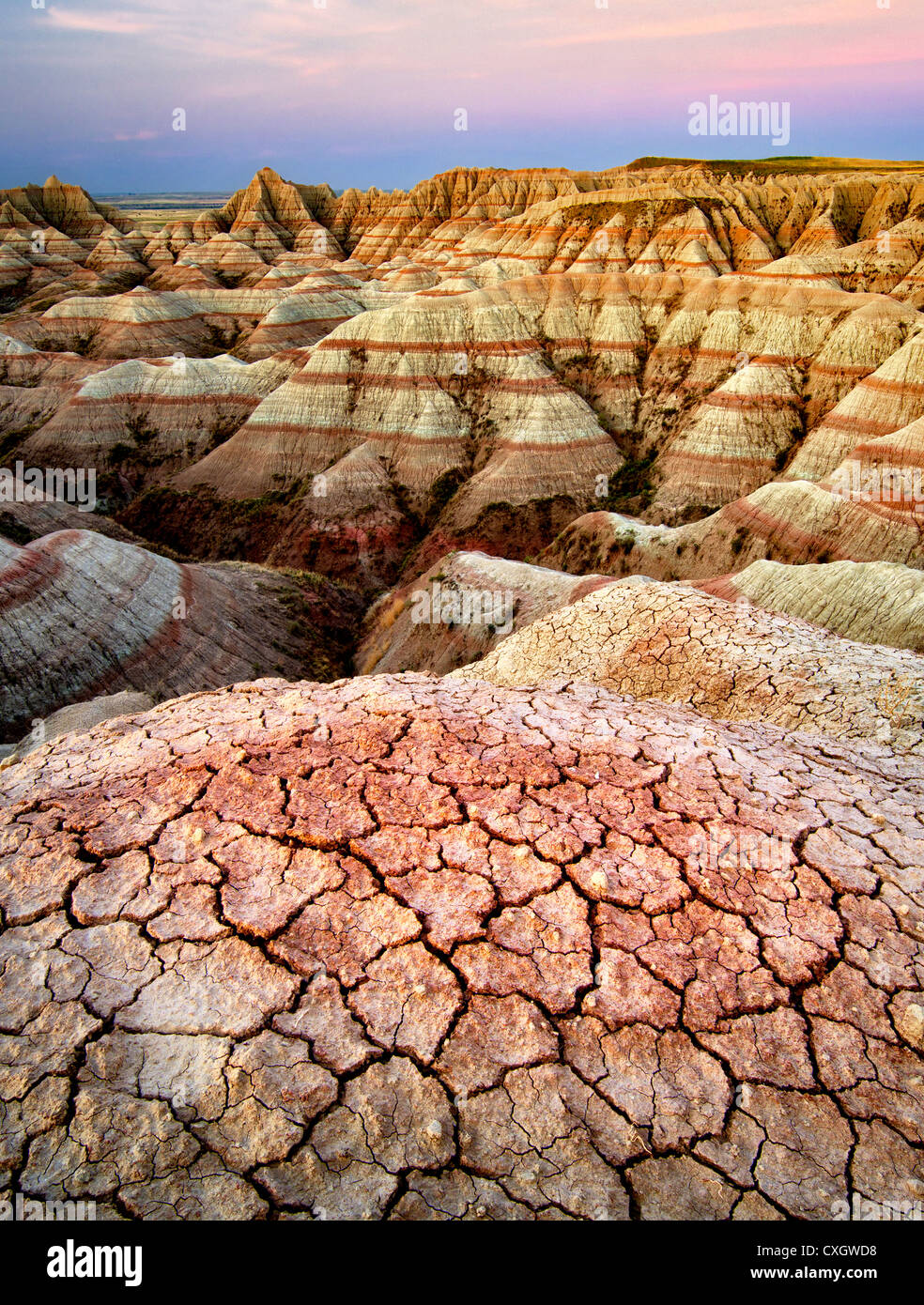 Eroded and cracked rock and mud formations. Badlands National Park. South Dakota formations. - Stock Image