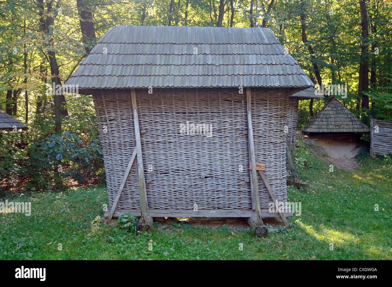 drying for corn ears, Lviv, Ukraine, Eastern Europe - Stock Image