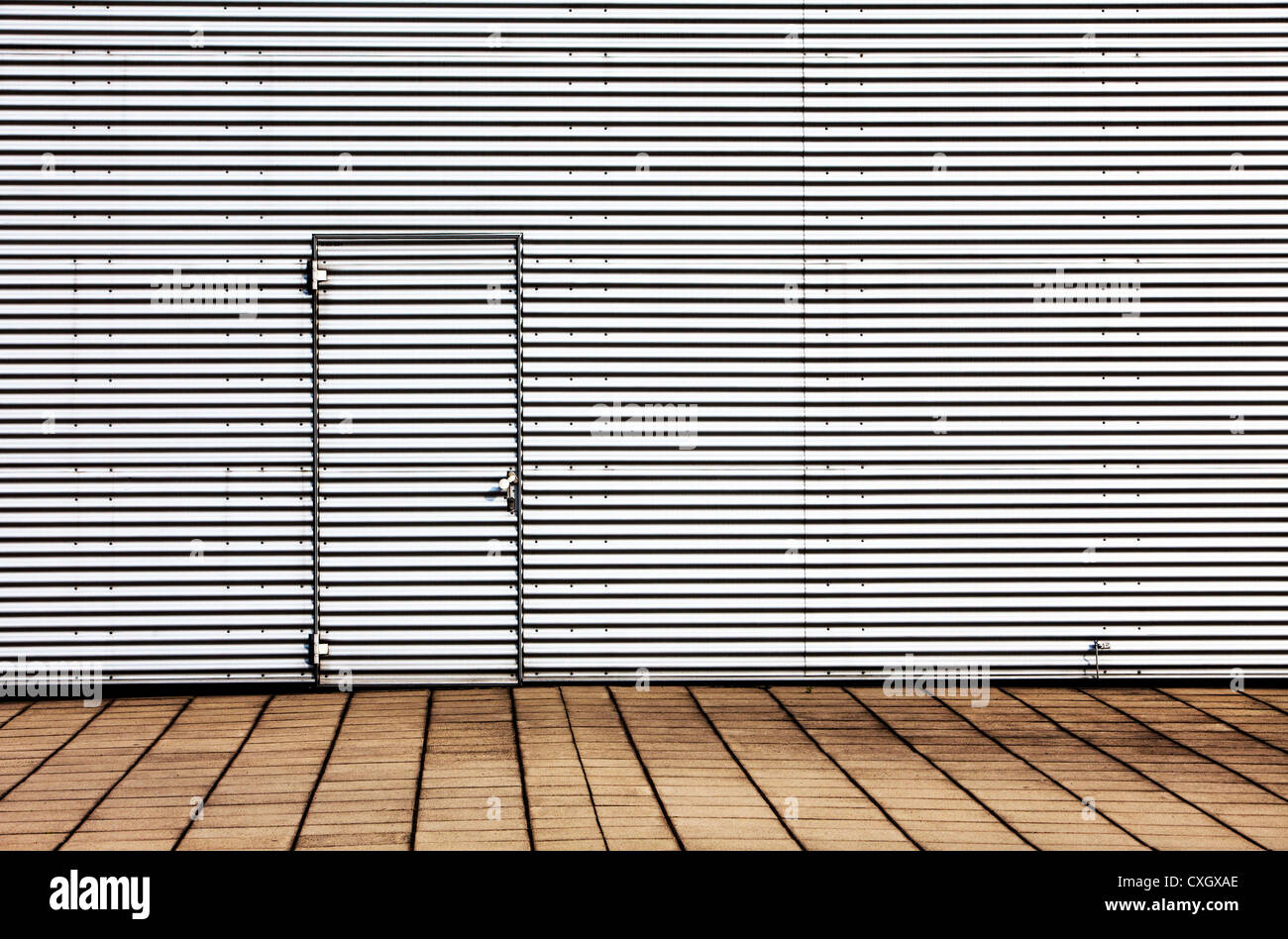 Aluminum facade of a building, with door. - Stock Image