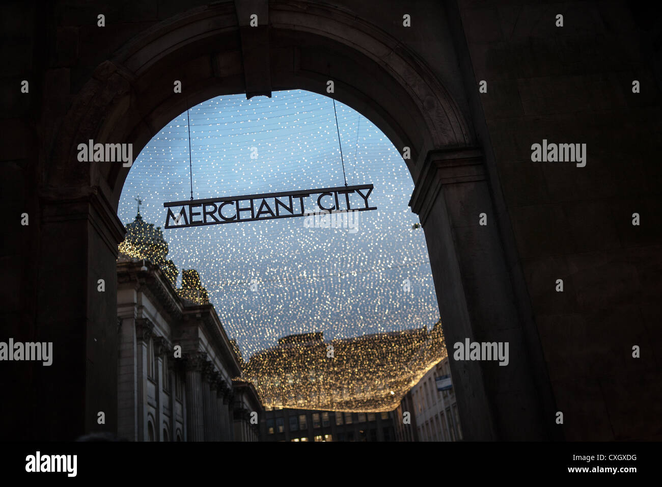 Arch with sign in Glasgow to Merchant City area. - Stock Image