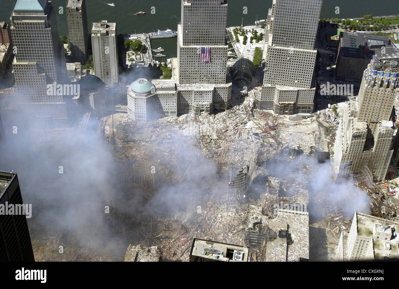 An aerial view of the destruction by terrorists of the World Trade Center September 15, 2001 in New York City. The - Stock Image