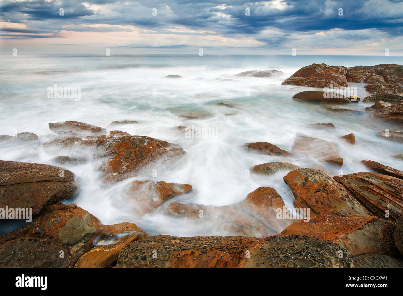 Whirling waters at Blanket Bay. - Stock Image