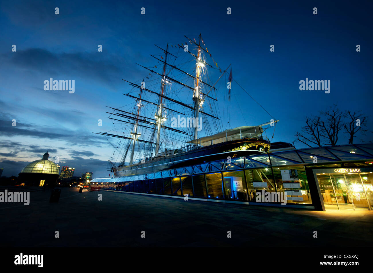 Newly renovated Cutty Sark tea clipper ship at Greenwich London UK - Stock Image