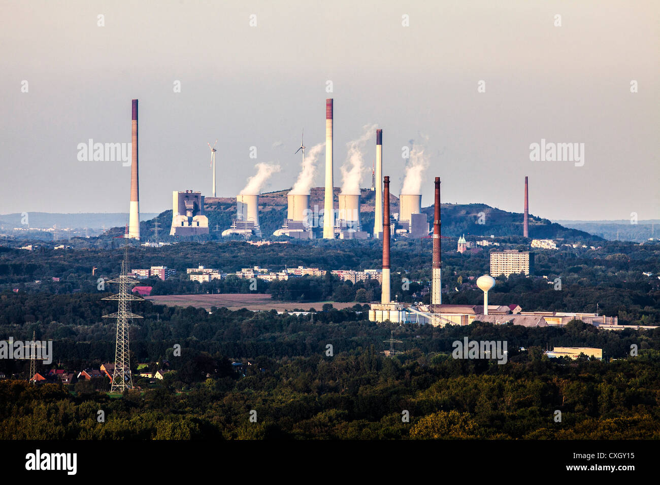 EON coal power station 'Scholven', wind power station on a stock pile. Gelsenkirchen, Germany, Europe - Stock Image