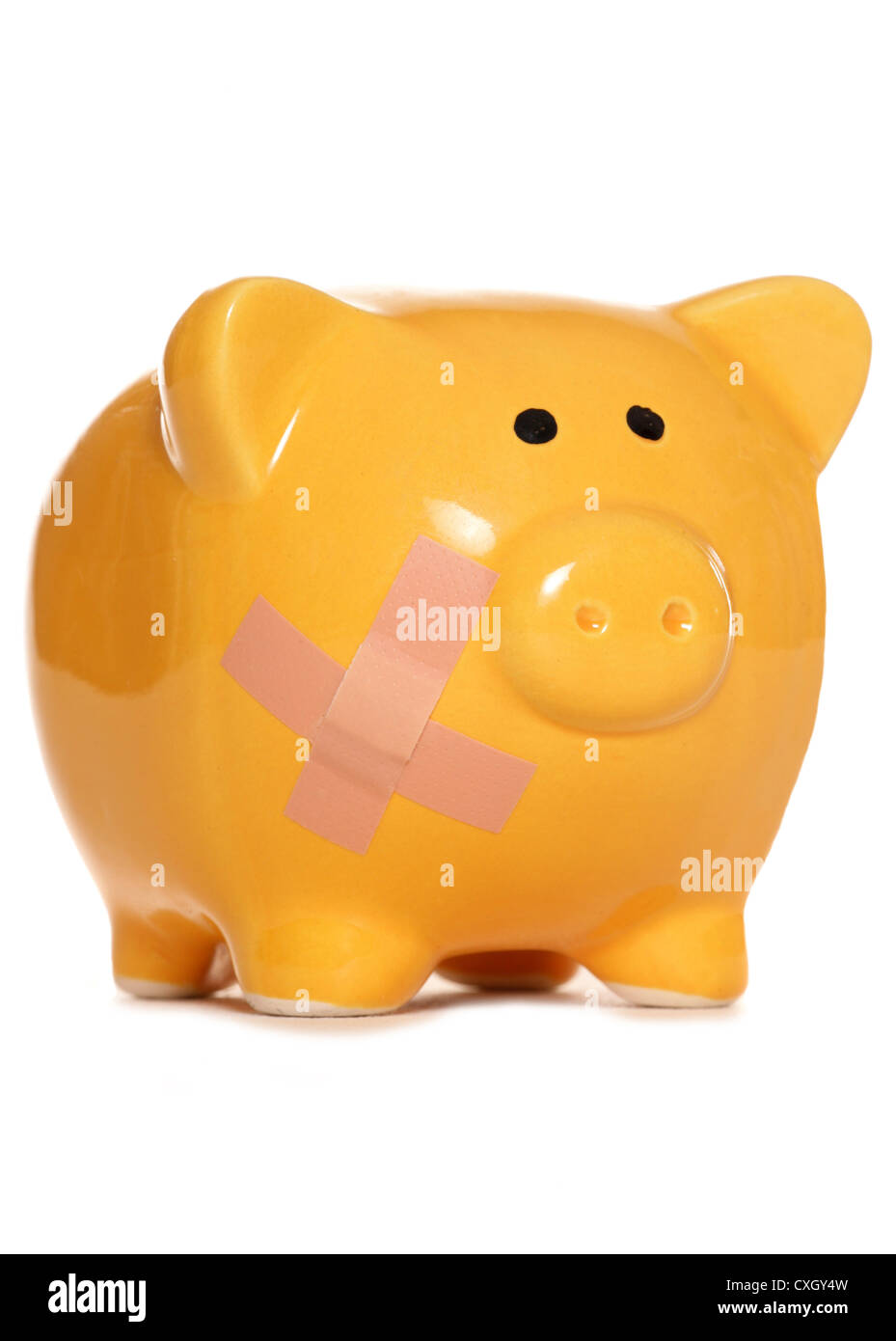 Unhealthy bank balance piggy bank studio cutout - Stock Image