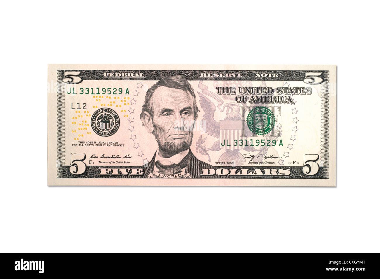 dollar bill, Five-Dollar-Bill, front, US-Dollar, isolated on 100% white Stock Photo