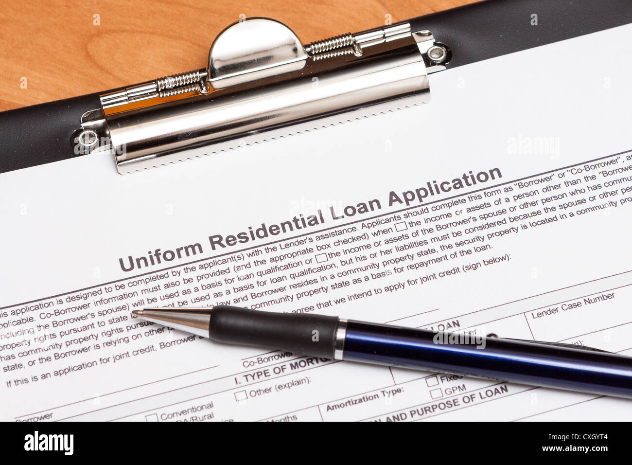Mortgage loan application form on the table - Stock Image