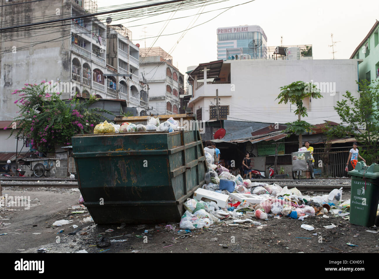 Garbage Container overflowing... - Stock Image