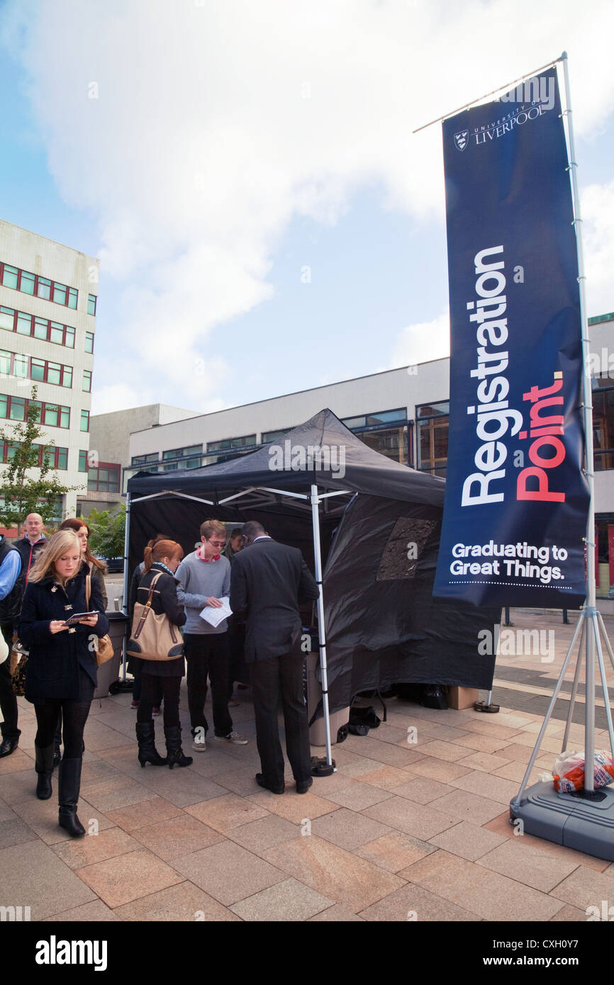 Prospective students attending an Open Day at Liverpool University, Liverpool, Merseyside Lancashire UK - Stock Image