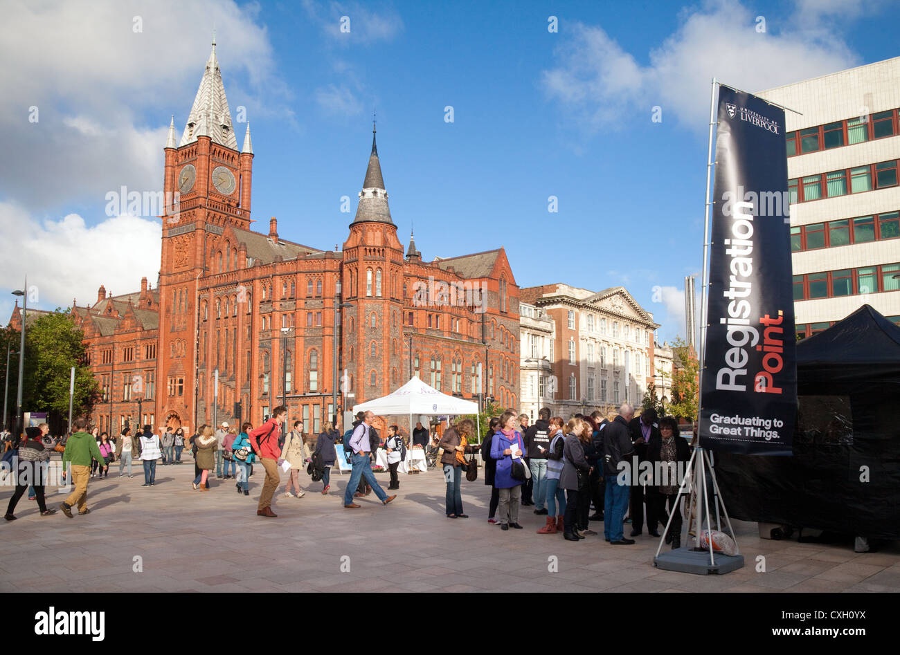 Students attending an Open Day at Liverpool University Campus, Liverpool UK - Stock Image