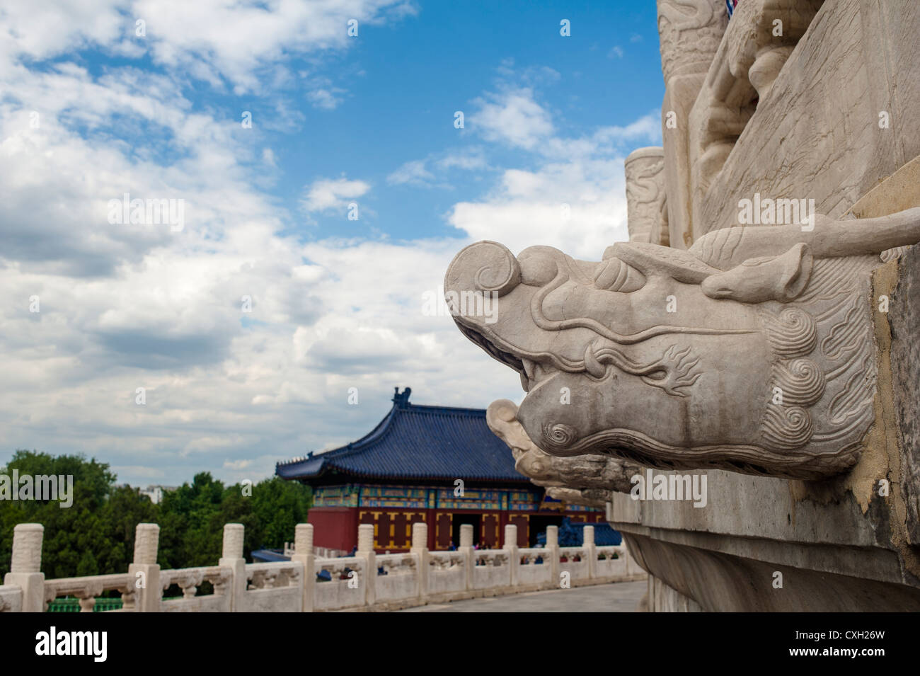 Dragon head-like rain outlet in Temple of Heaven - Stock Image