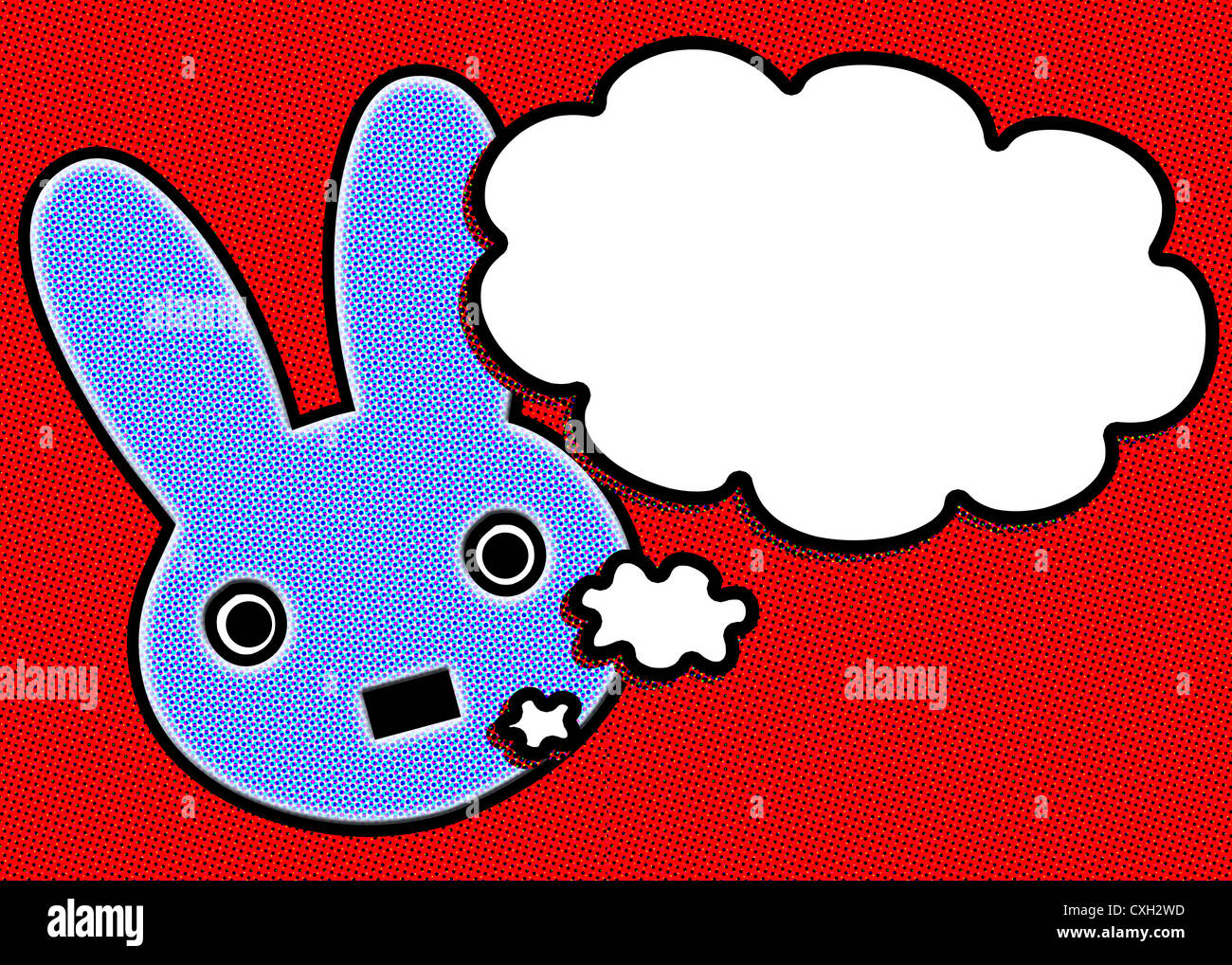 Blue rabbit on red background with a talk bubble - Stock Image