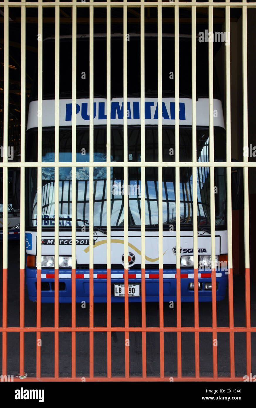 Local Buses at Liberia bus station. Costa Rica. - Stock Image