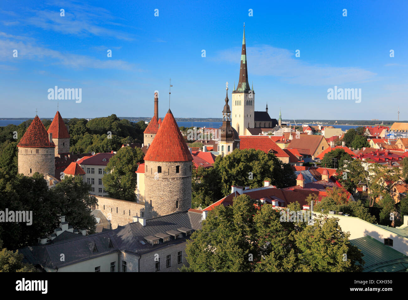 View of old city from Toompea, Tallinn, Estonia - Stock Image