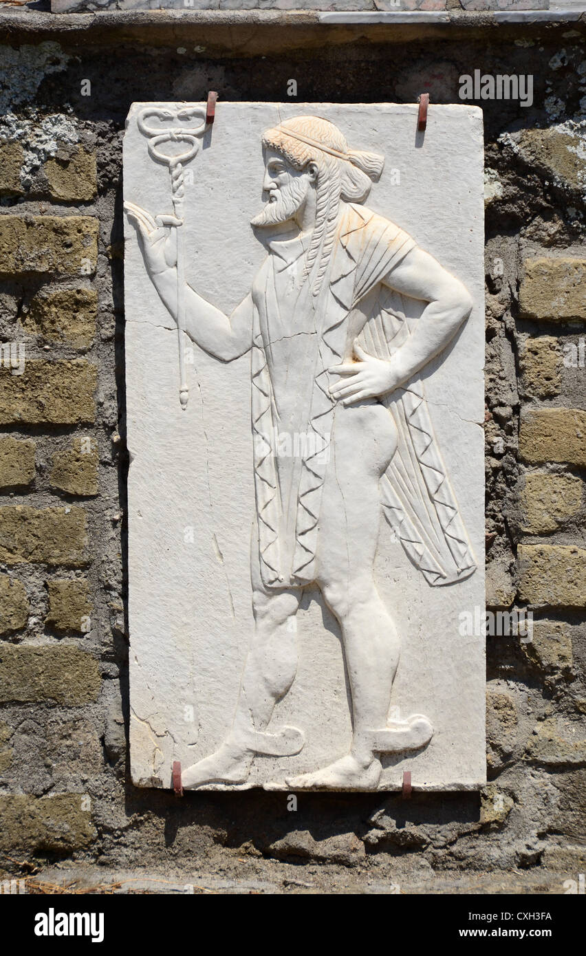Herculaneum roman god carved tablet - Stock Image