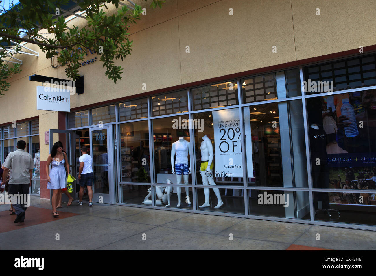 df95029a7 Shoppers walking into Calvin Klein store in Las Vegas North Premium Outlets  Shopping Mall