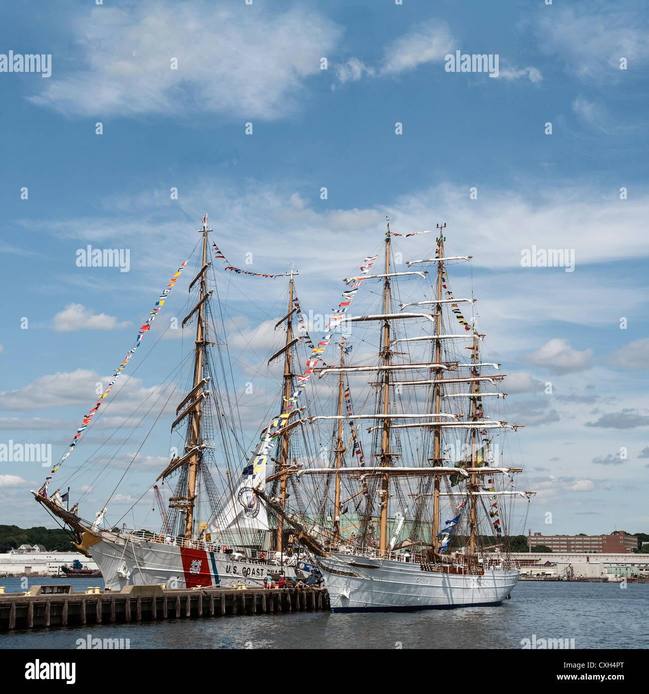 New London Connecticut US July 9 2012: The US Coast Guard training ship Eagle and the Brazilian Navy training ship - Stock Image
