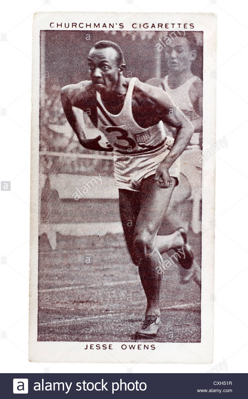 Churchman Kings of Speed Series cigarette card from 1939:  Jesse Owens was an American track and field athlete. - Stock Image