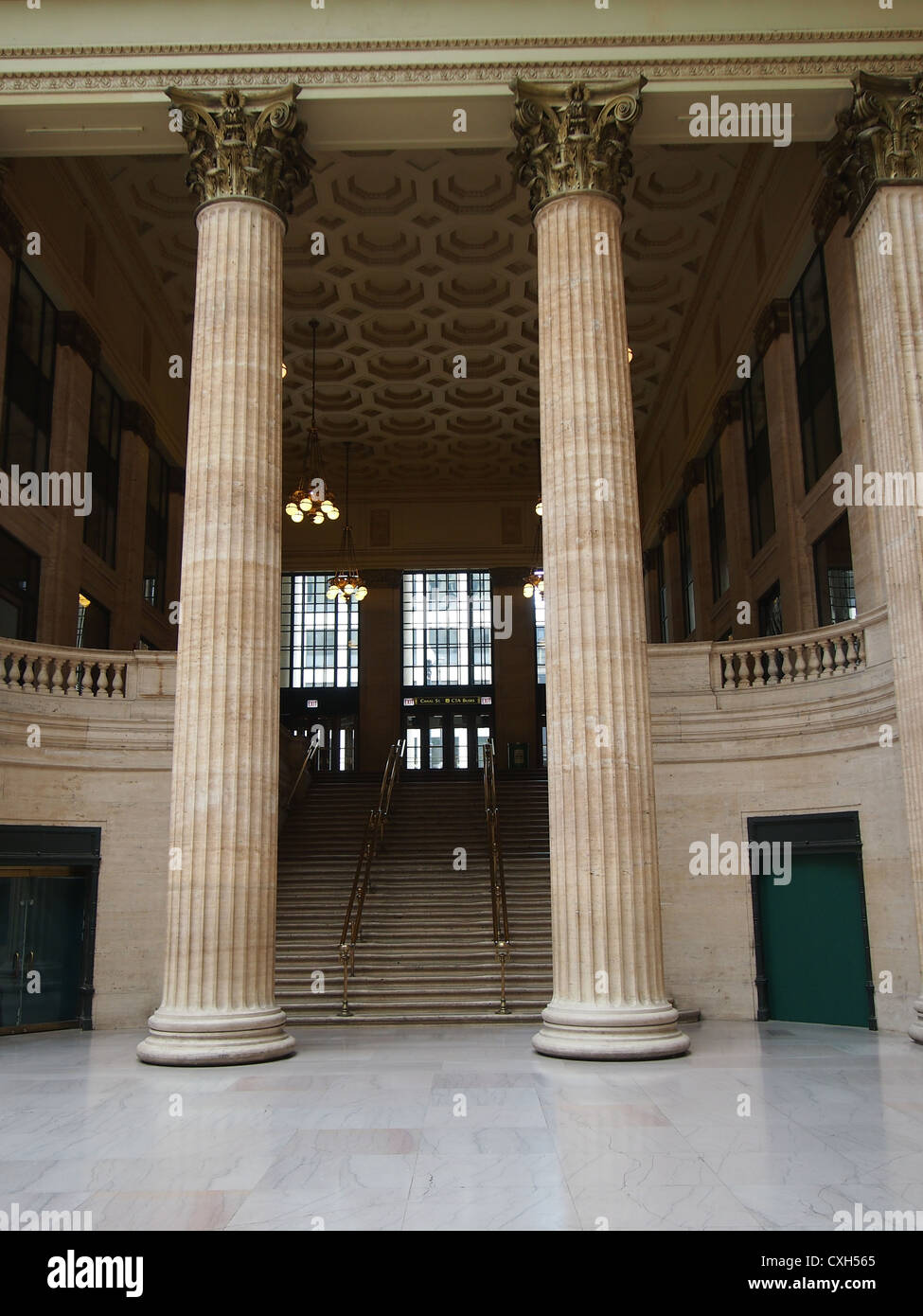 Interior View of Union Station, Chicago, Showing Staircase Used In The Film 'The Untouchables' with Pillars In Foreground Stock Photo