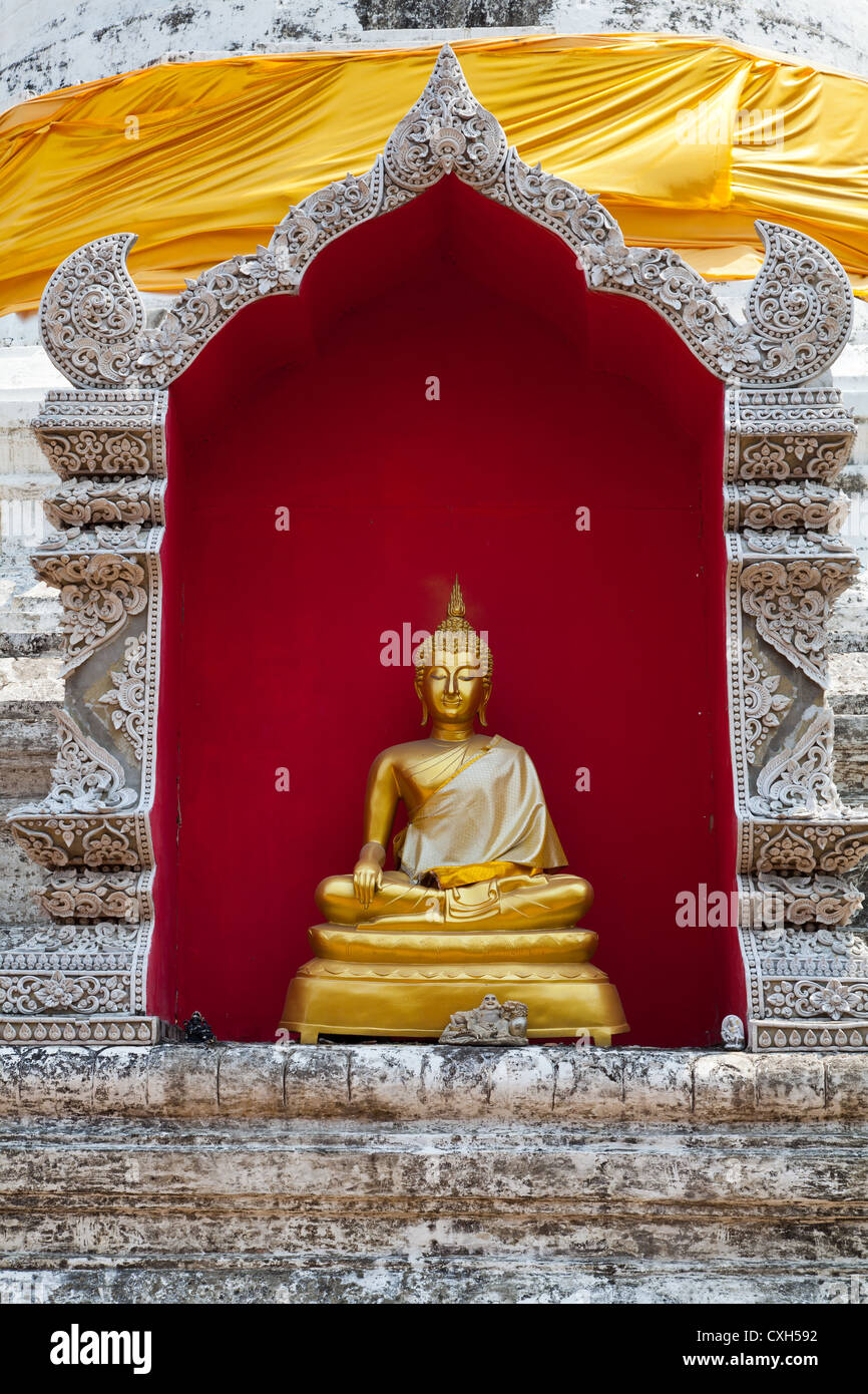 Buddha Statue in the Temple Wat Buppharam in Chiang Mai in Thailand Stock Photo