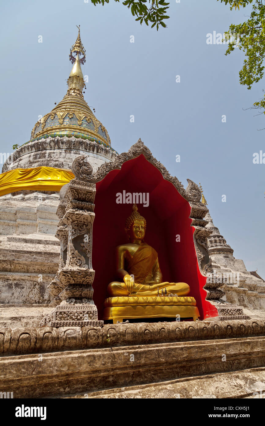 Chedi of the Buddhist Temple Wat Buppharam in Chiang Mai Stock Photo