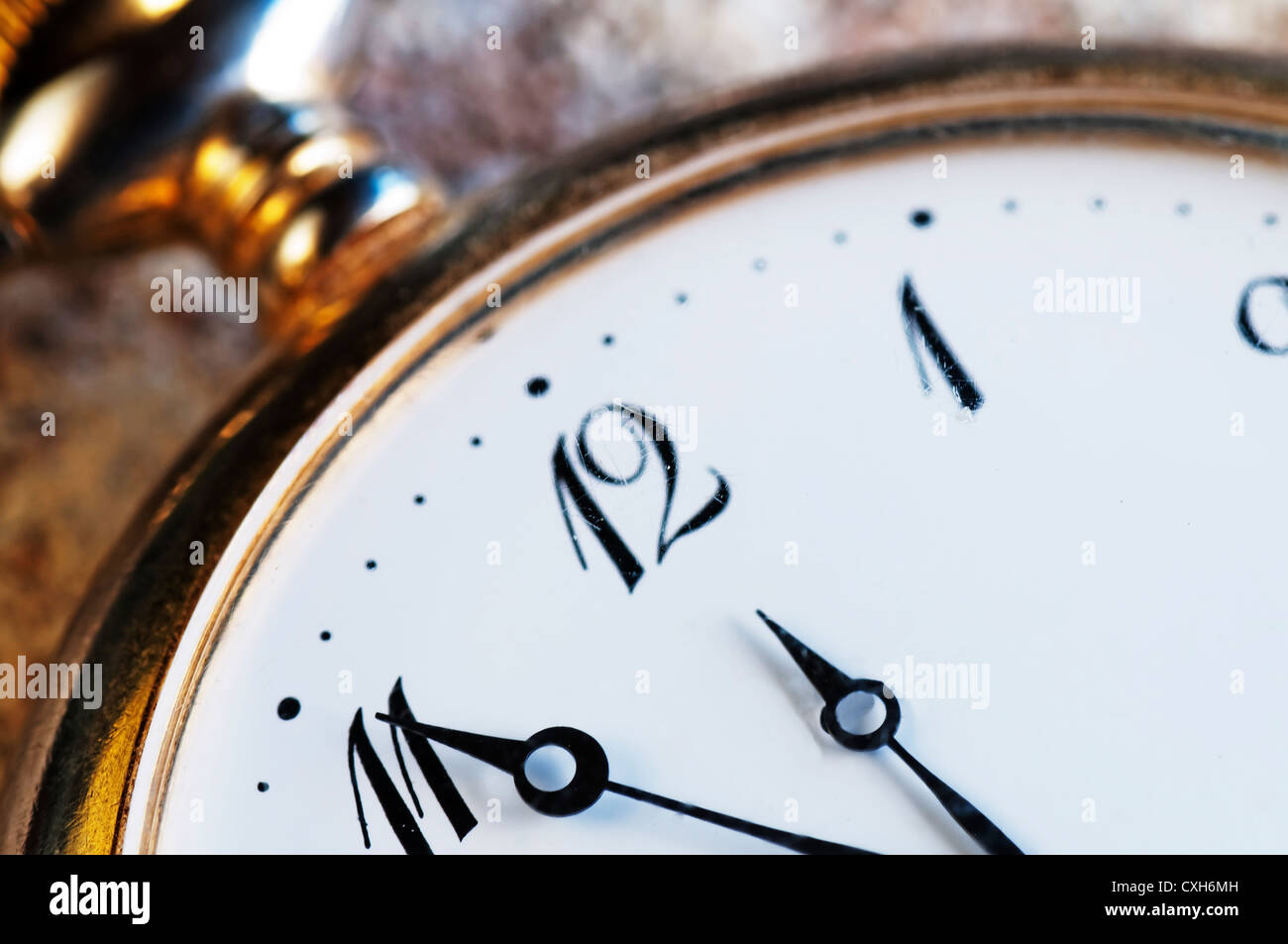 time is running 5 before 12 - Stock Image