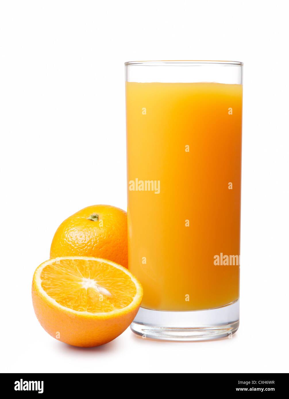 orange juice with oranges isolated on white - Stock Image
