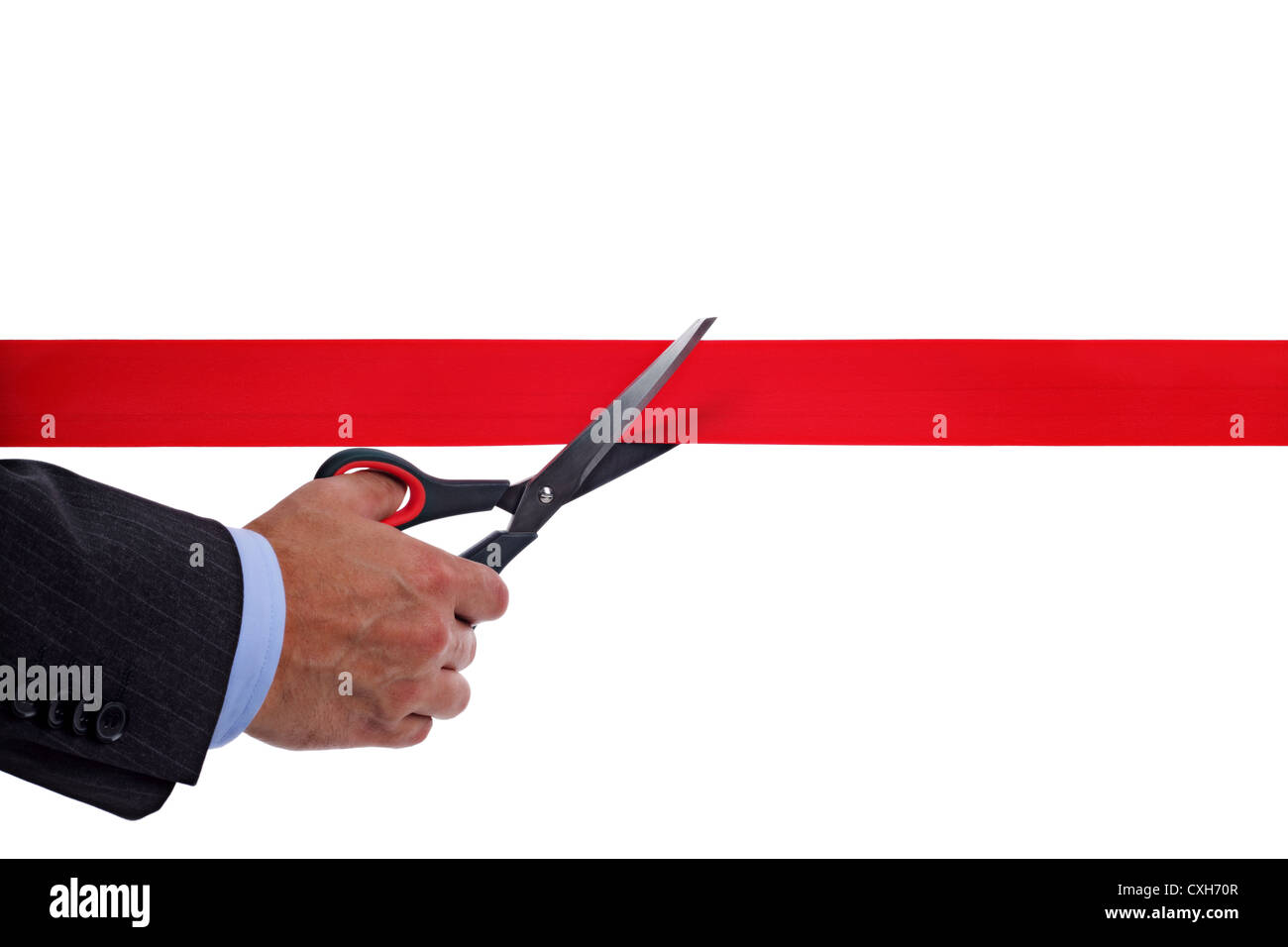 Cutting red tape - Stock Image