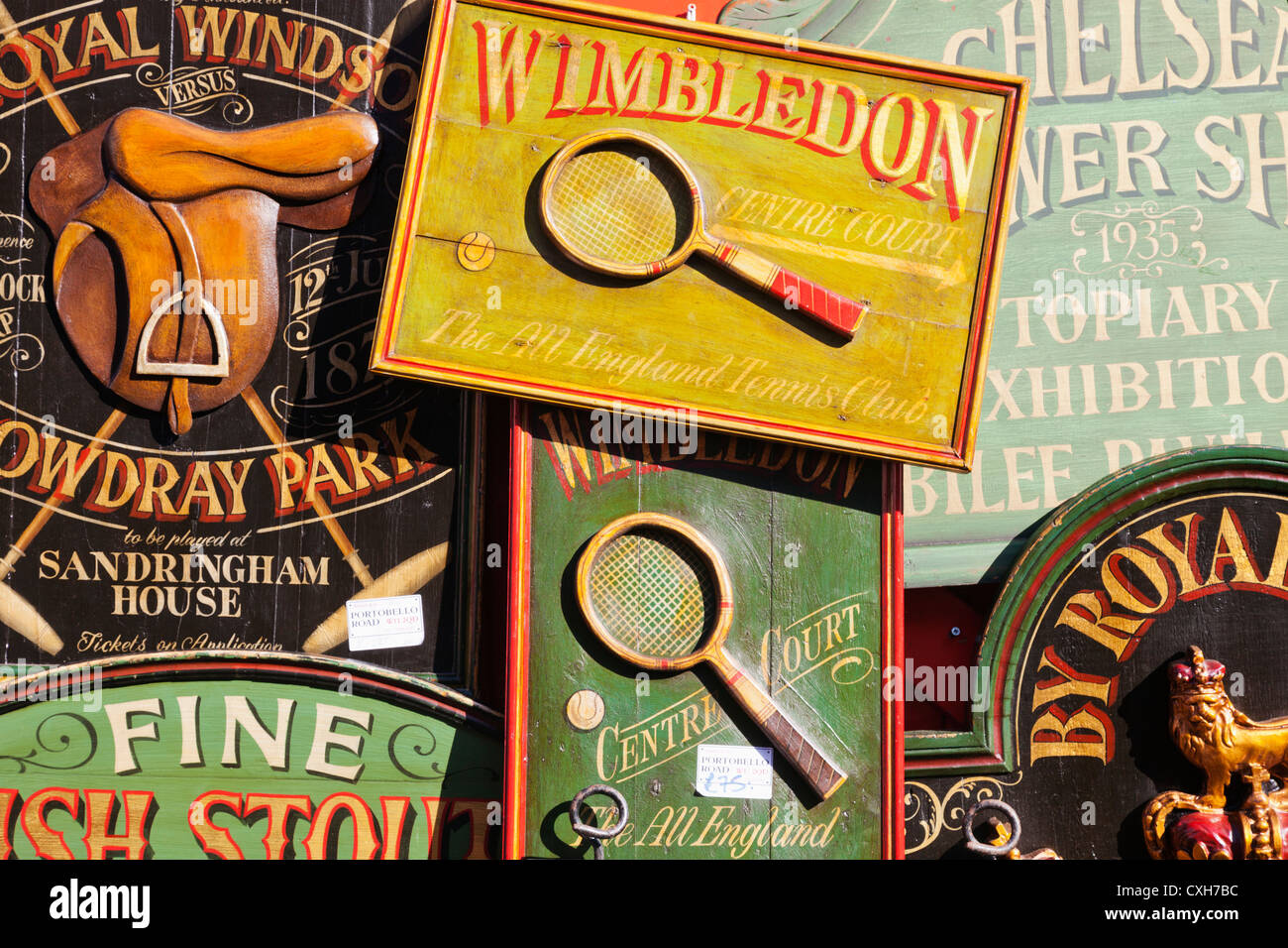 England, London, Notting Hill, Portobello Road, Antique Shop Display, Reproduction Antique Signboards - Stock Image