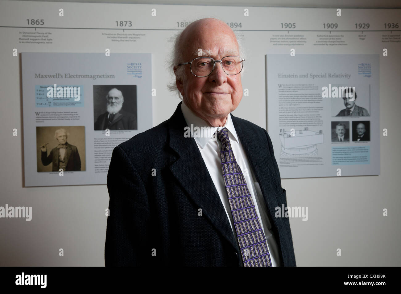 Nobel prize winner Professor Peter Higgs, who theorized the existence of the subatomic particle named the Higgs - Stock Image