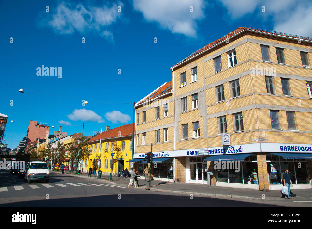 Street scene along Gronland street Gronland district central Oslo Norway Europe - Stock Image