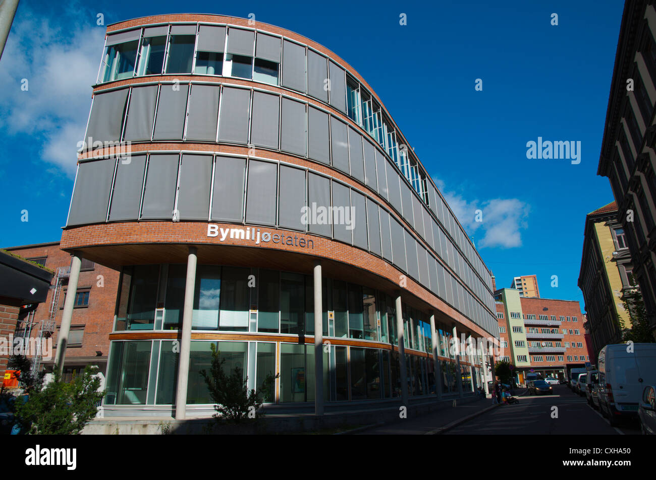 Hollendergata street with office buildings Gronland district central Oslo Norway Europe - Stock Image