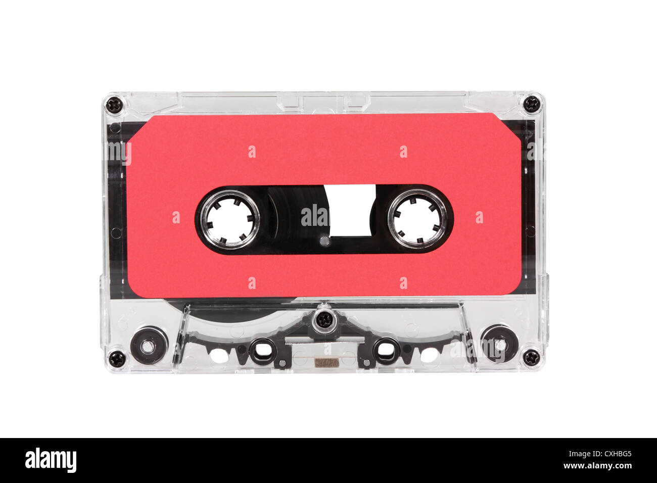 Vintage red blank audio cassette isolated with clipping path. - Stock Image