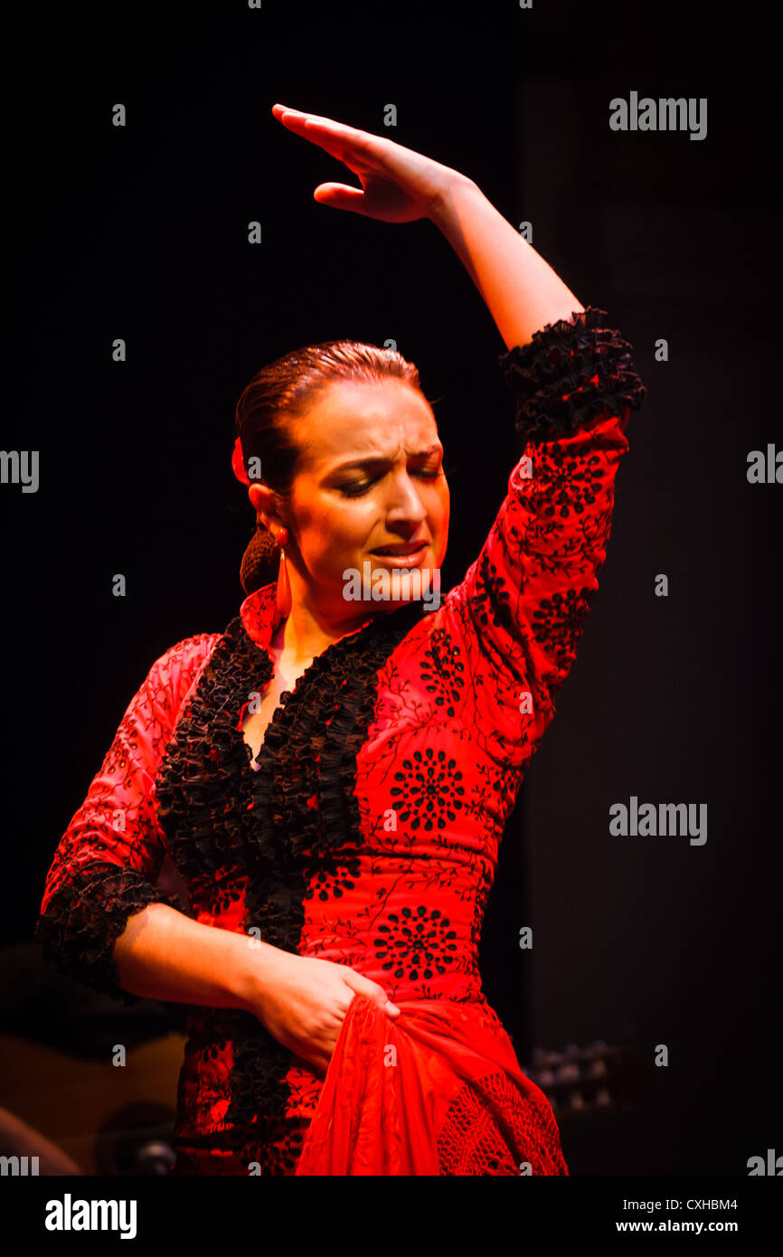 Female Flamenco dancer performs traditional step in classical red dress costume, hairstyle and form - Stock Image
