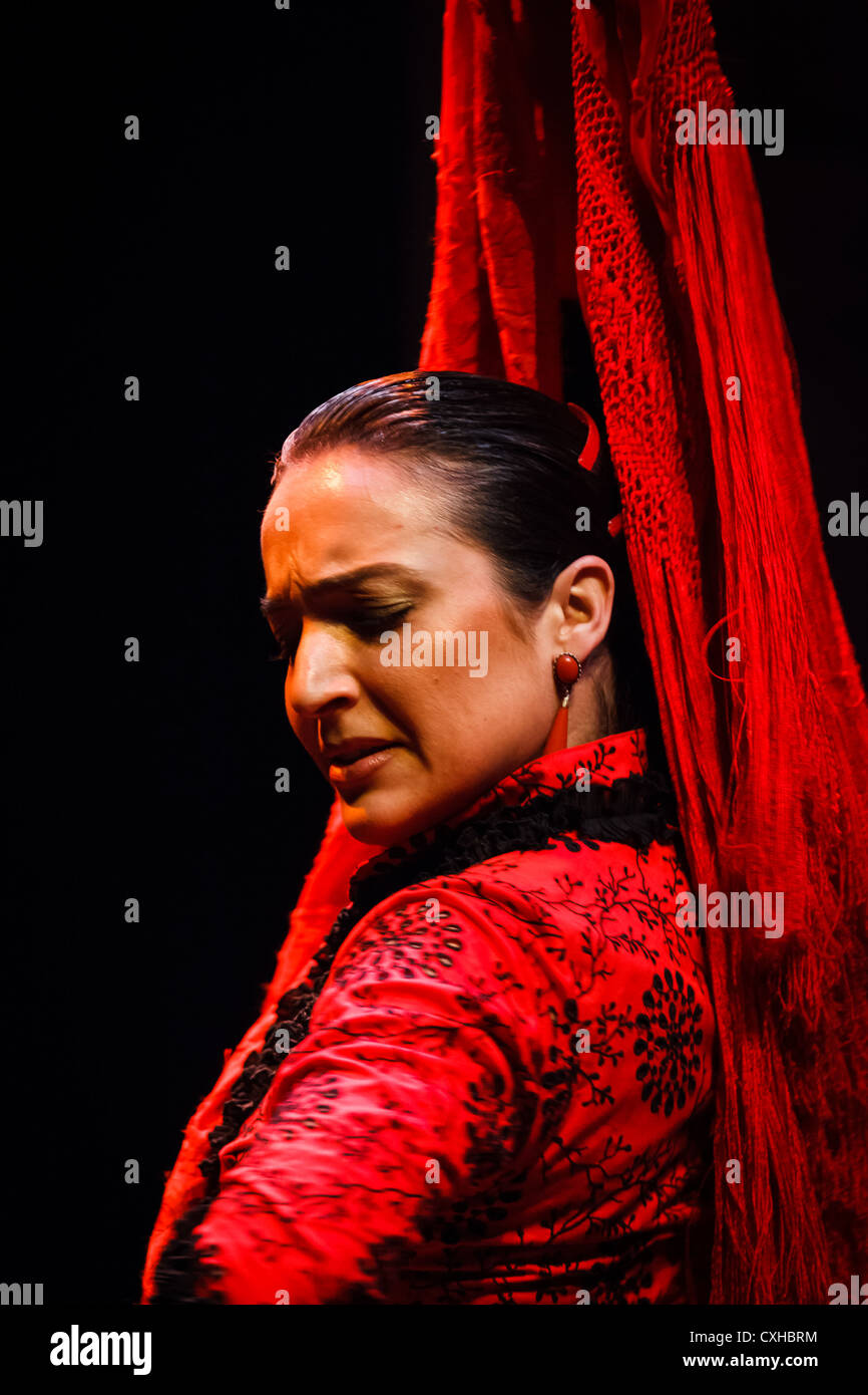 Portrait of a traditional Andalusian Flamenco dancer in a red dress as she twists her head in classical pose - Stock Image