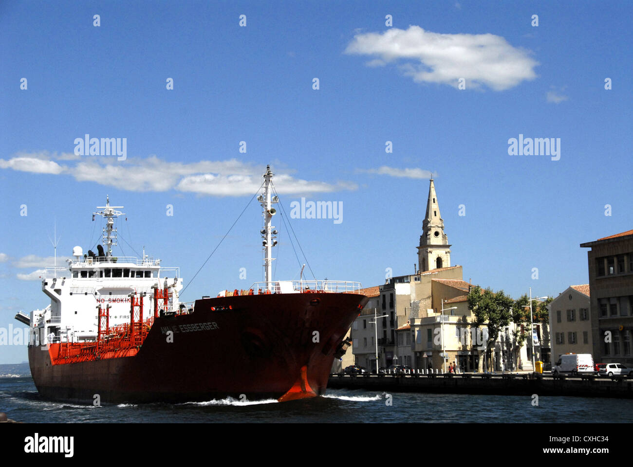 ship leaving the Pond of Berre  Martigues  Bouches du Rhone France Europe - Stock Image