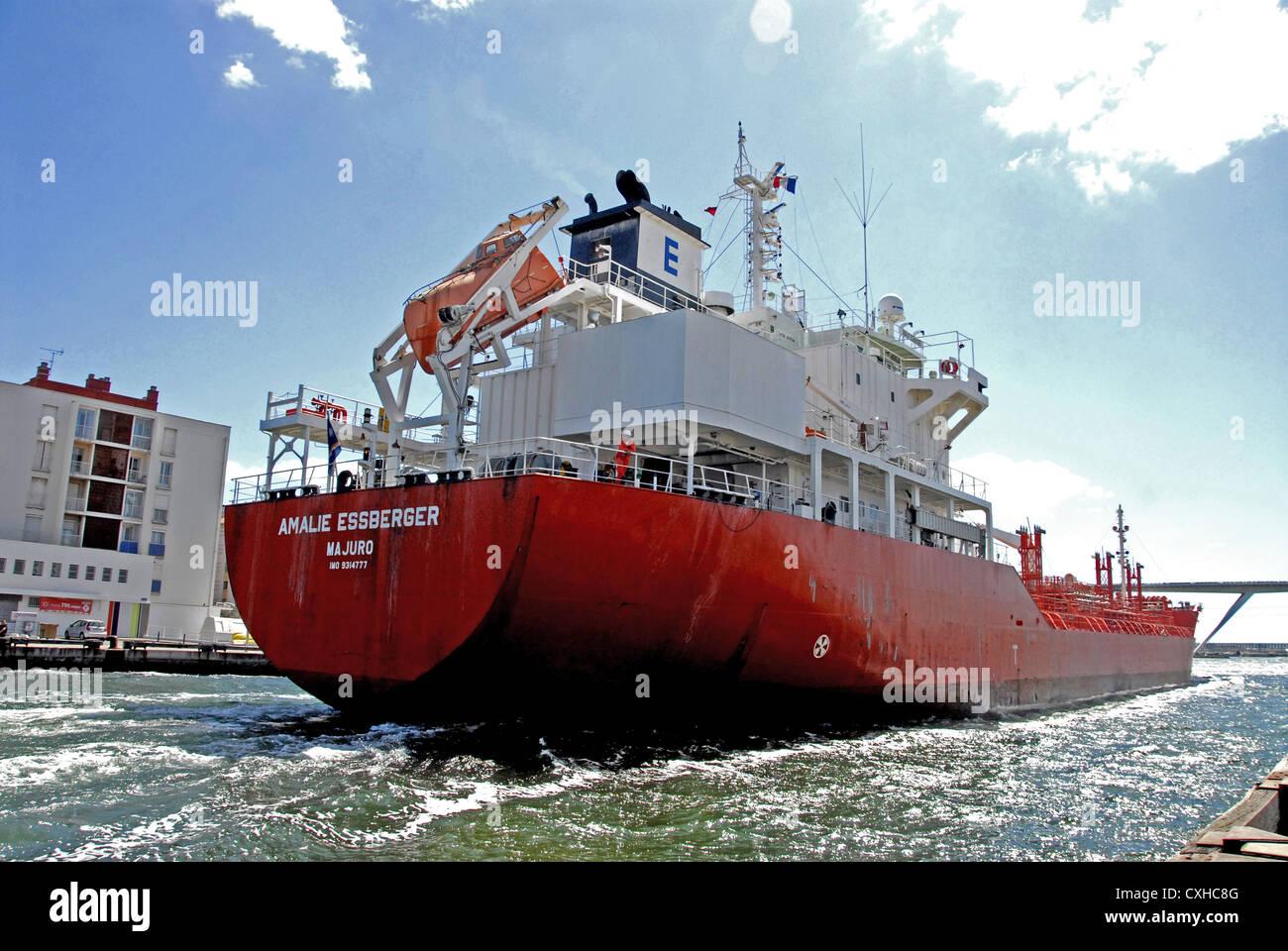 oil chemical tanker Amalie Essberger  Martigues  Bouches-du-Rhone France Europe - Stock Image
