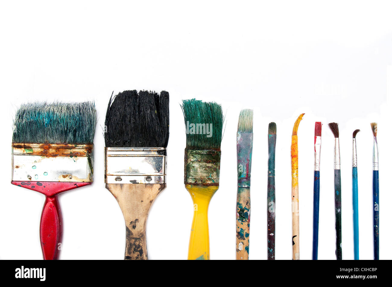 Brushes used in different sizes - Stock Image