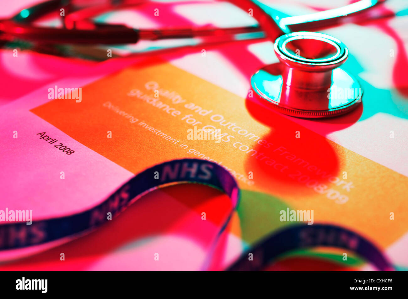 NHS UK government Quality care and outcome document for GP and hospital NHS staff - Stock Image