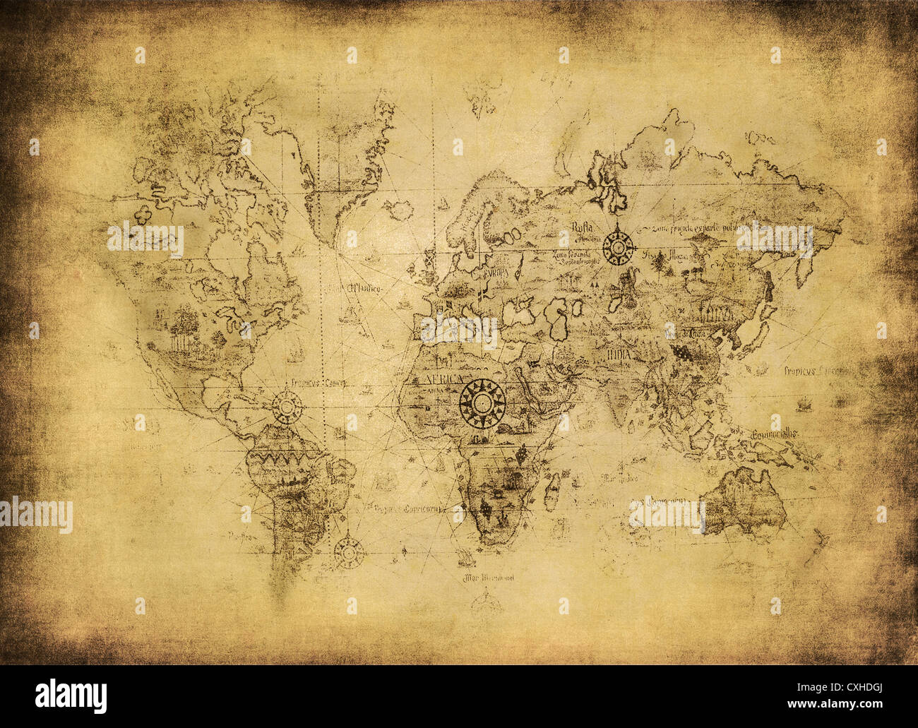 ancient map of the world - Stock Image