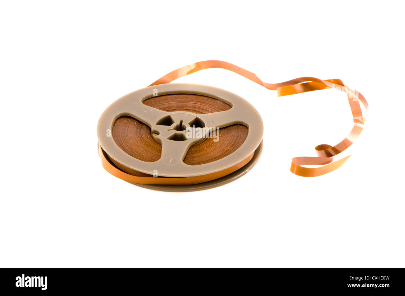 old recorder audio tape isolated on white background - Stock Image