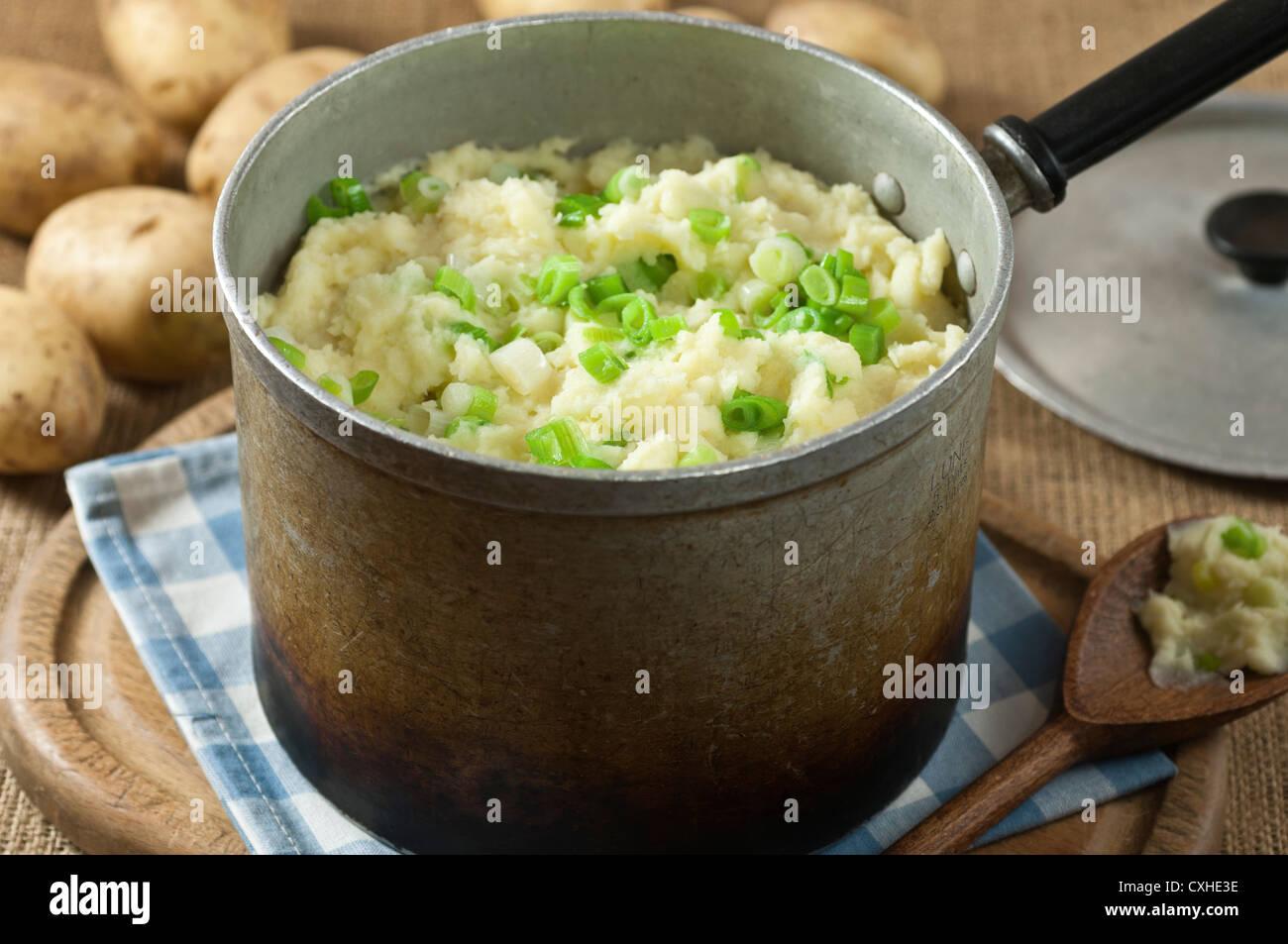 Champ potatoes Irish potato dish - Stock Image