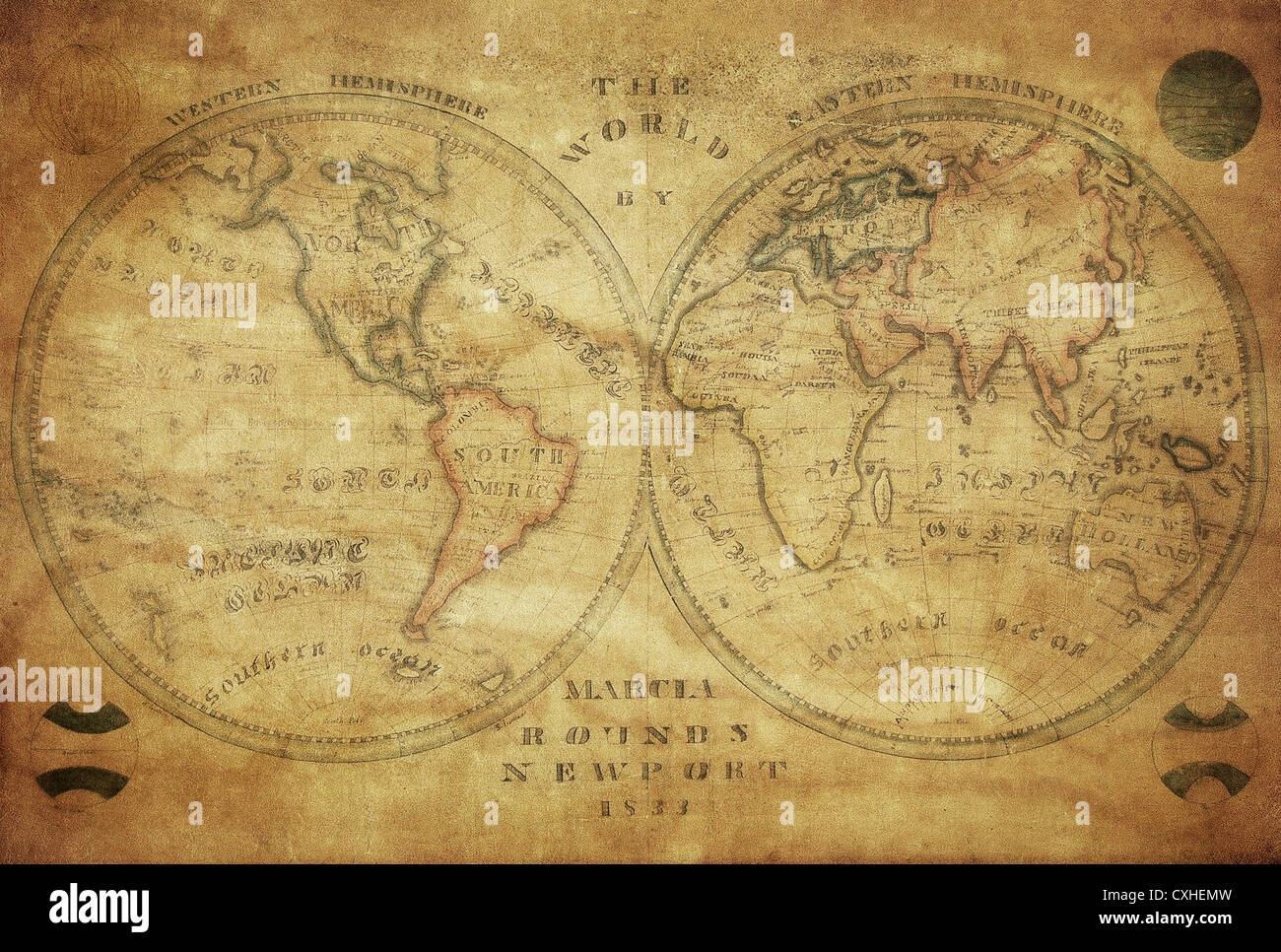 vintage map of the world 1833 - Stock Image