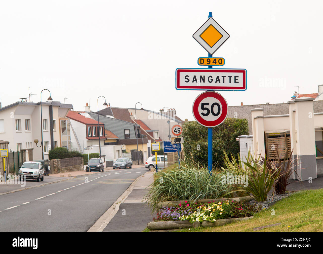 Town sign for Sangatte, Calais, france - Stock Image