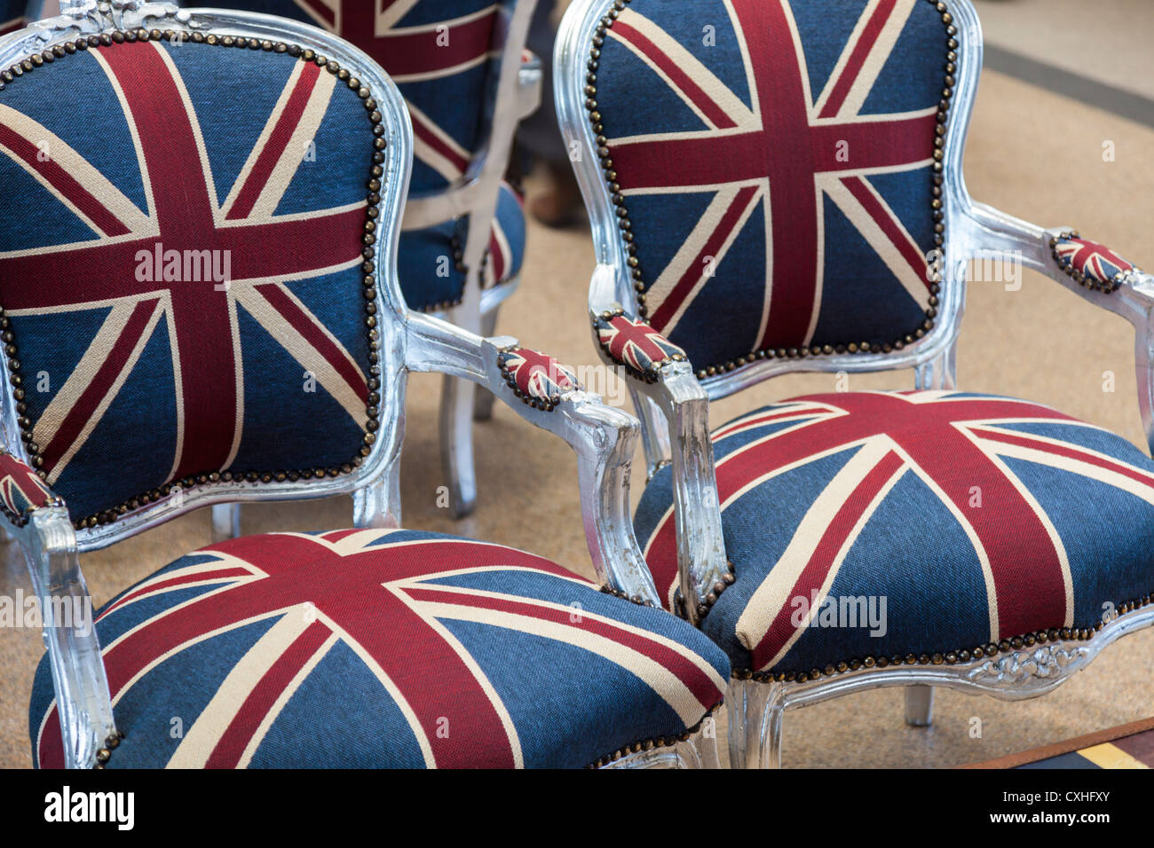 British Union Jack Flag Used As Upholstery For Chairs In Ascot Racecourse.  Berkshire, England, UK. Europe.