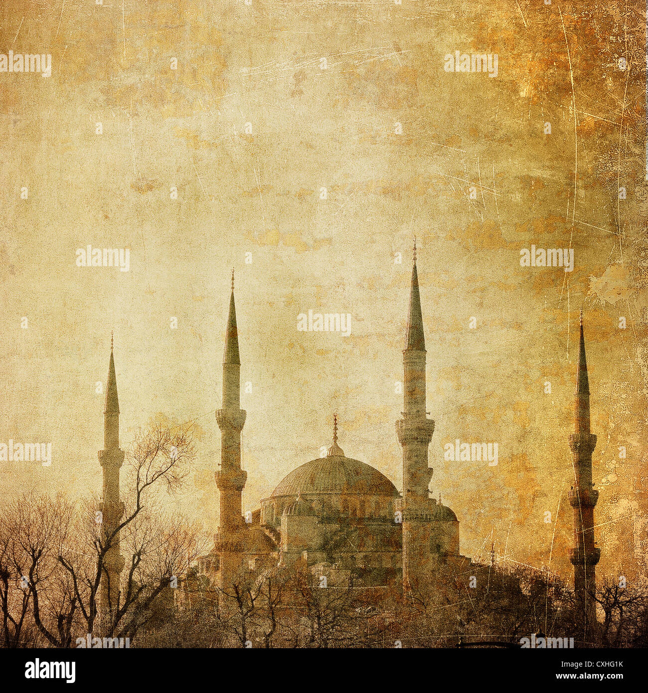 Vintage image of Blue Mosque, Istambul - Stock Image