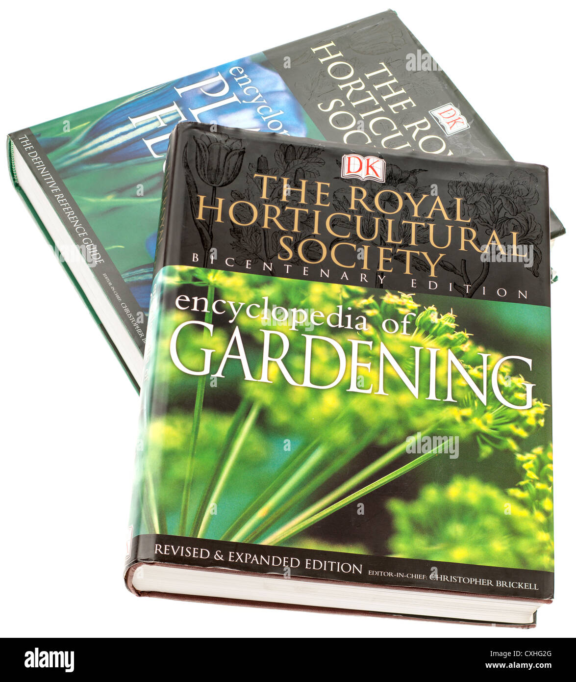 Royal Horticultural Society encyclopedia of gardening book and  Royal Horticultural Society encyclopedia of plants - Stock Image