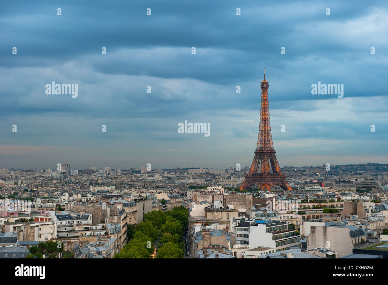Panorama of Paris at dusk - Stock Image